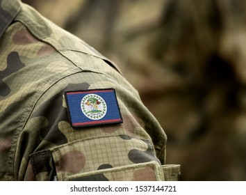 Flag of Belize on military uniform. Belize, Army, troops, soldier (collage).