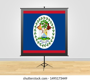 Flag of Belize on poster board. Belize on poster stand or poster display.