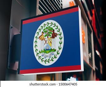 Flag of Belize on Shop Sign. Flag of Belize on Advertisement Board