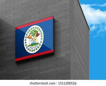 Flag of Belize on Signage Board. Belize Flag on building Signage Board.