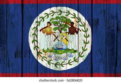 Flag of Belize painted onto an old wooden door