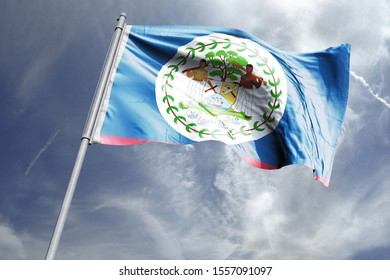 Flag of Belize in the sky. National Flag of Belize on flag pole for Independence day.