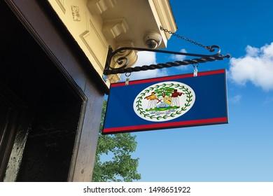 Flag of Belize Swinging Shop Sign.