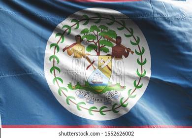 Flag of Belize waving. National Belize Flag for Independence day.