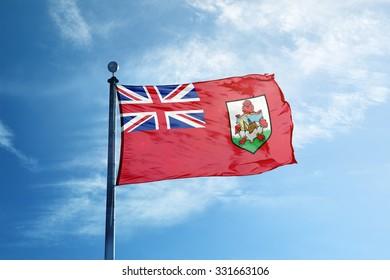 Flag of Bermuda  on the mast