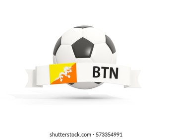 Flag of bhutan, football with banner and country code isolated on white. 3D illustration