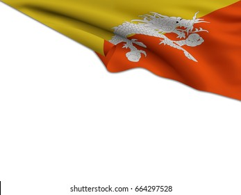 Flag of Bhutan waving on a white background for your text.3D Rendering
