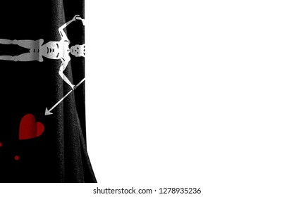 Flag of Blackbeard Pirate white background and a place for the text