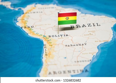 the Flag of bolivia in the world map