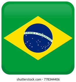 Flag of Brazil. Abstract concept, icon, square, button. Raster illustration on white background.