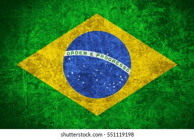 flag of Brazil or Brazilian banner on scratched vintage texture