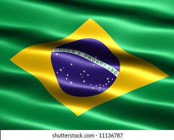 Flag of Brazil, computer generated illustration with silky appearance and waves