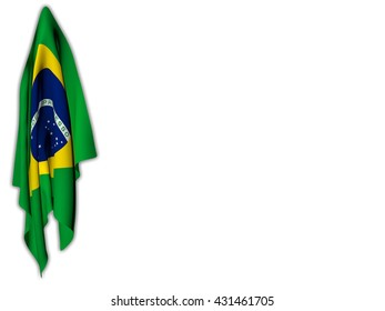 Flag of Brazil hanging on a white background