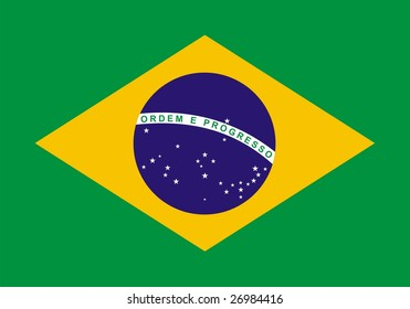 Flag of Brazil. Illustration over white background