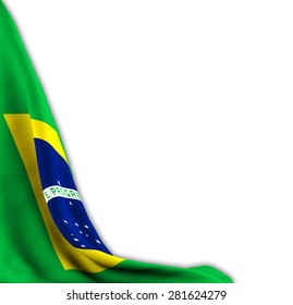 Flag of Brazil shifted to show leave space on old white background