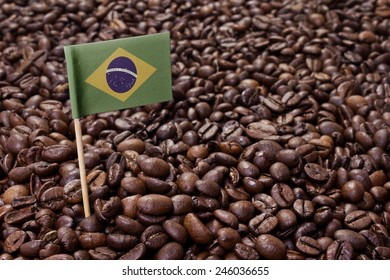 Flag of Brazil sticking in roasted coffee beans.(series)
