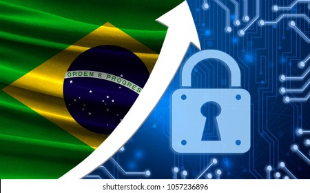 The flag of Brazil together with the blue cryptogram and the up arrow with the lock. This concept shows the increased level of security of the crypto currency and blockchain wallets.