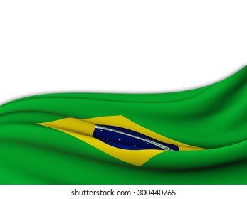 Flag of Brazil with wave pattern of the sea on a white background