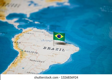 the Flag of brazil in the world map