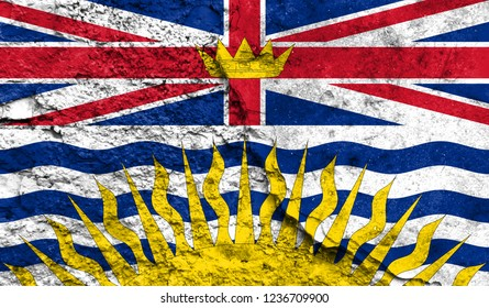 Flag of British Columbia close up painted on a cracked wall, concept of armed actions and conflicts in the world