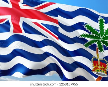 Flag of British Indian Ocean Territory waving in the wind against deep blue sky. High quality fabric.
