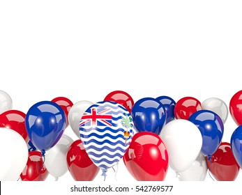 Flag of british indian ocean territory, with balloons isolated on white. 3D illustration