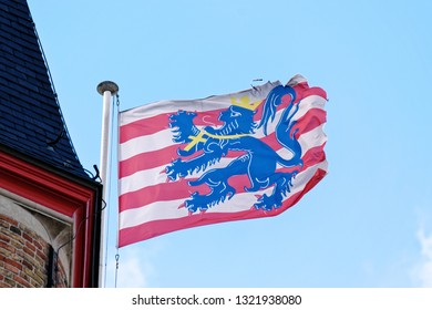 Flag of Bruges, Belgium. The municipality of Bruges (116,982 inhabitants; 13,840 ha) was established in 1970.