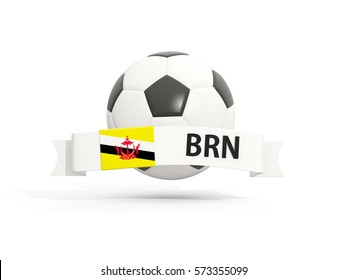 Flag of brunei, football with banner and country code isolated on white. 3D illustration