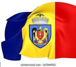 Flag of Bucharest, Romania.