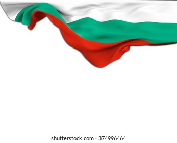 Flag of Bulgaria moved by the wind leaning on a white background