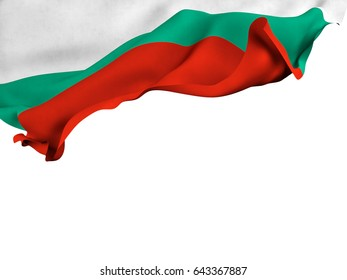 Flag of Bulgaria shot ,isolated while waving on a white background.3D Rendering