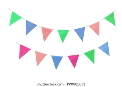 Flag Buntings on White Background