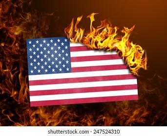 Flag burning - concept of war or crisis - USA