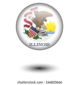 Flag button illustration - Illinois