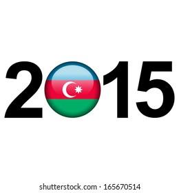 Flag button illustration with year - Azerbaijan