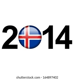 Flag button illustration with year - Iceland