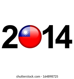 Flag button illustration with year - Taiwan