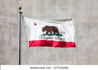 Flag of California flies over Los Angeles USA