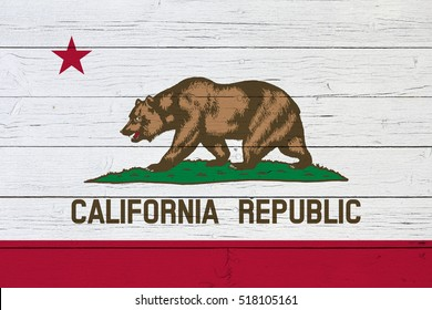 Flag of California on wooden background