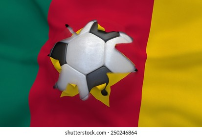 Flag of Cameroon and soccer ball, hole in flag