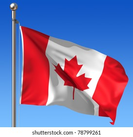Flag of Canada against blue sky. Three dimensional rendering illustration.