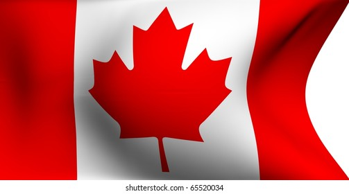 Flag of Canada against white background. Close up.
