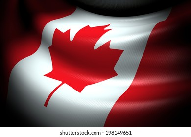 Flag of Canada in the dark with brightness spot