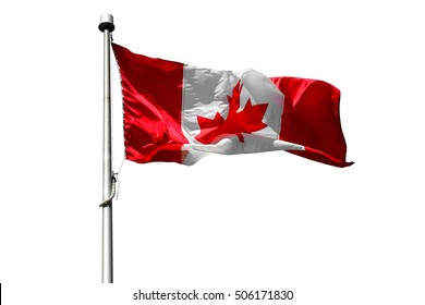 Flag of Canada flying, State flag - Canadian flag isolated on white background