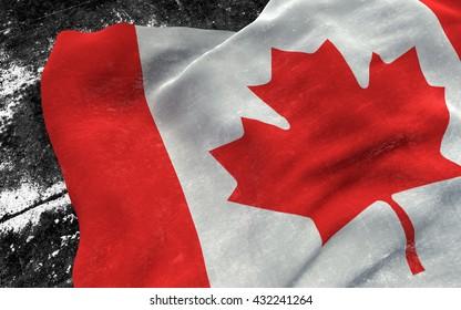Flag of Canada grunge concept. 3D illustration.