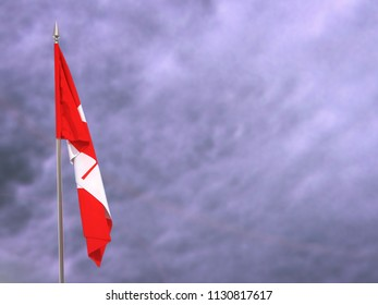 Flag of Canada hanging down dangling