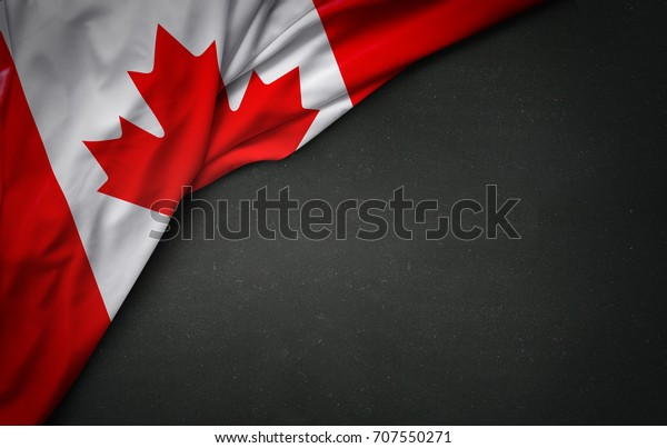 Flag of Canada on blackboard