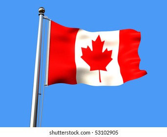 flag of canada on blue background with visible fabric texture - rendering