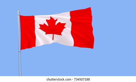 Flag of Canada on a flagpole fluttering in the wind on a pure blue background, 3d rendering.