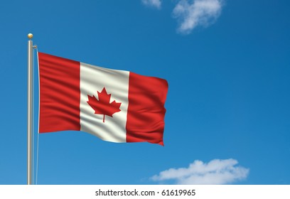 Flag of Canada with flag pole waving in the wind on front of blue sky